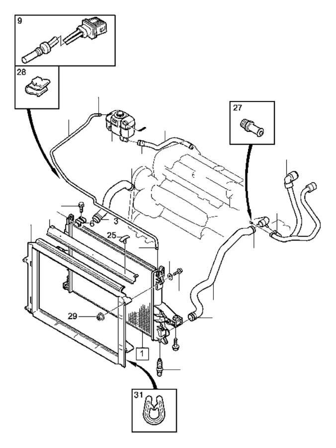 Volvo V70 Xc Cover Frame  Expansion Tank  Hoses  Radiator