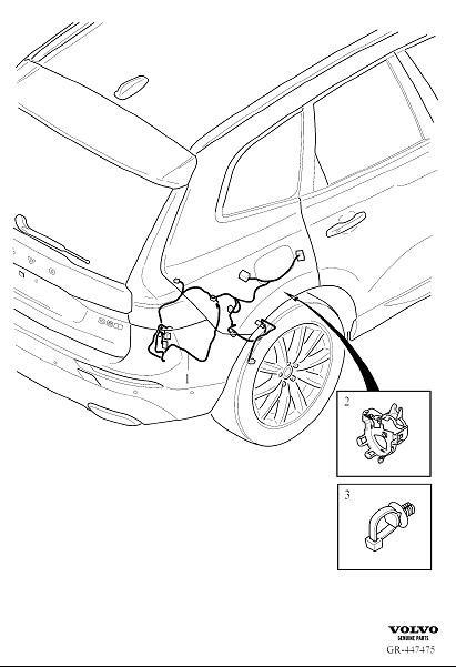volvo xc60 wiring harness  rear  cable  axle