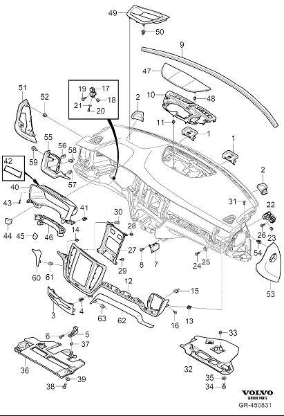 Volvo S60 Clip. Dashboard Body Parts. Interior - 31417443 ...