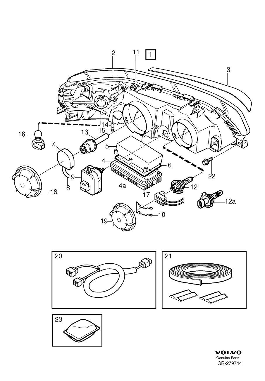 Volvo V70 Headlight Wiring Harness  Left  Right