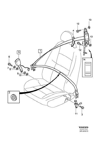 Volvo S40 Seat Belt Lap And Shoulder Belt Bracket  Left