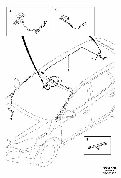 volvo xc60 wiring harness  cable harness roof  with roof