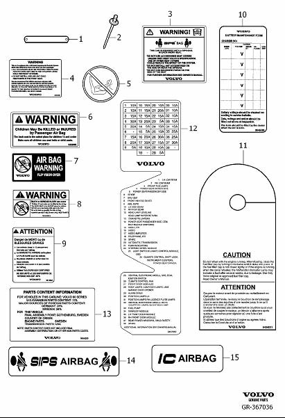 volvo s80 decal  decals dashboard passenger compartment  english text  fuse box  ch