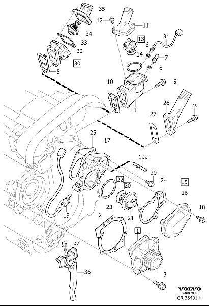 Volvo S80 Engine Coolant Thermostat  6cyl