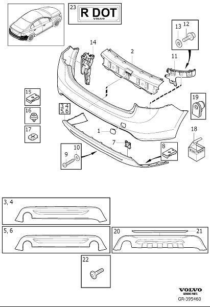 Volvo S60 Spoiler  Bumper  Body Parts  One End Pipe   Rear