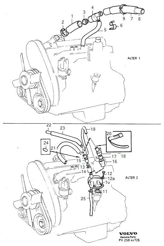 Volvo 260 Hose  B17  B19  B21  B23  B200  B230  Crankcase