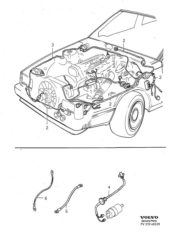 Volvo 740 Wiring Harness  Cable Harness  Engine