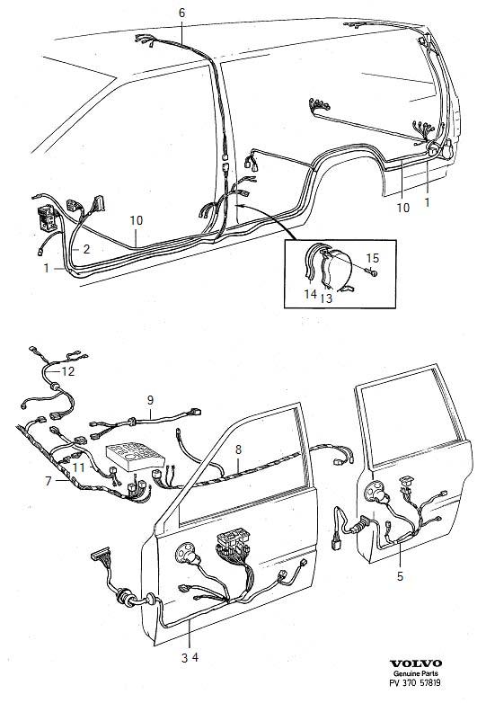 Volvo 740 Wiring Harness  Door  Cable  Loudspeakers