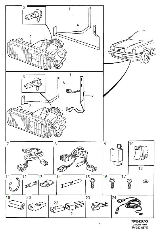 Volvo 850 Wiring Harness  Bracket For Auxiliary Lights