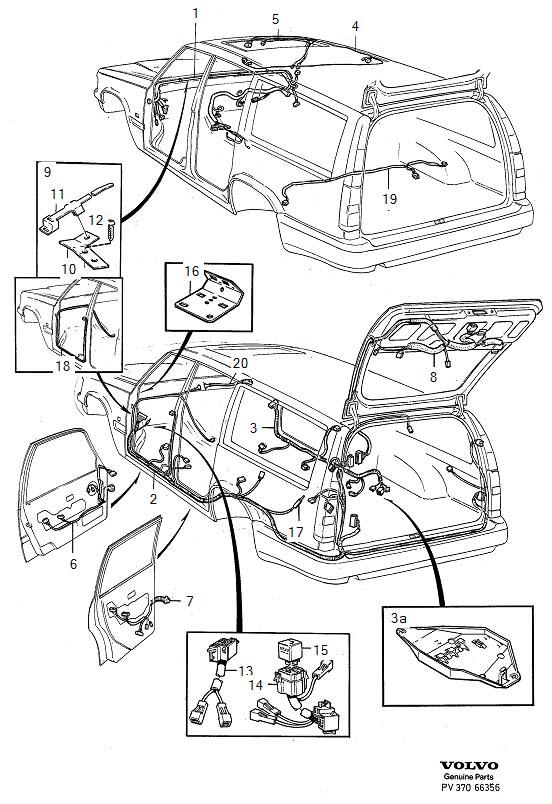 Volvo 850 Wiring Harness  Bottom Rail  Bulkhead  Cabin