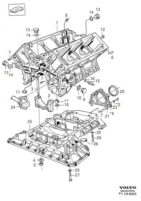 Volvo 760 Screw  B27  B280  Cylinder Block  Engine Block