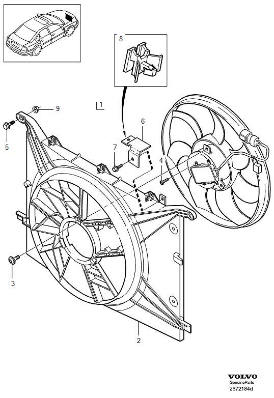 Volvo S80 Engine Cooling Fan Motor  Electrical Fan  See