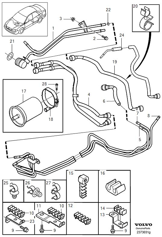 Volvo V40 Clamp  Diesel  Fuel Lines From Tank To Engine