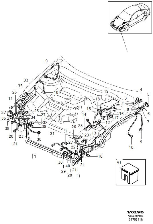 Volvo S40 Cable Harness  Cable Terminals  Dsl  Engine