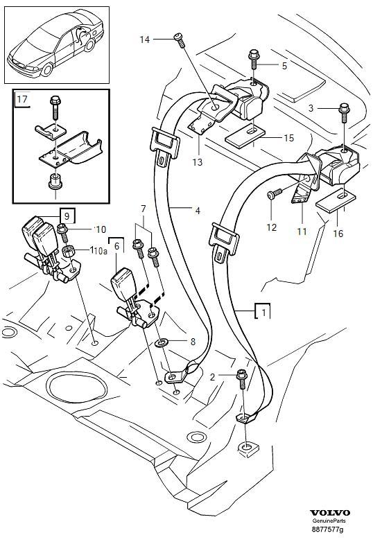 Volvo S40 Child Restraint Anchor Plate  Rear  Inner  Off