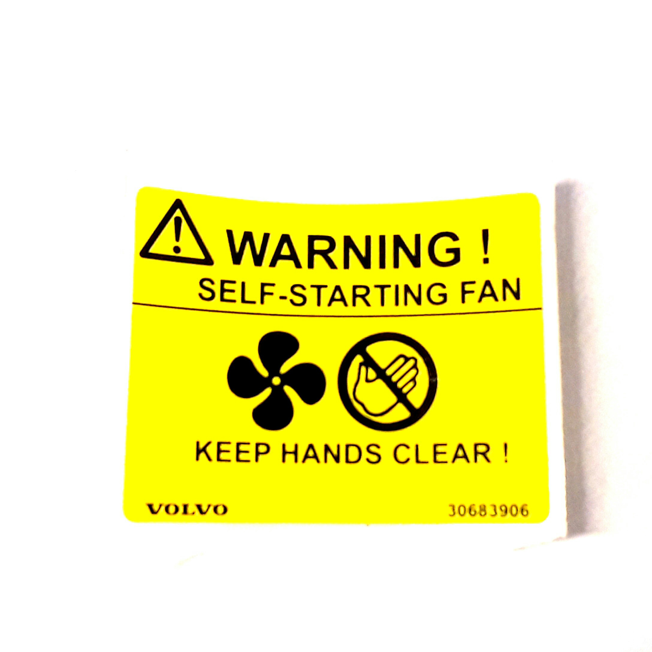 Volvo S40 Caution Label  Decals Engine Compartment  Fan  Ch -249999  Ch -269999  Ch