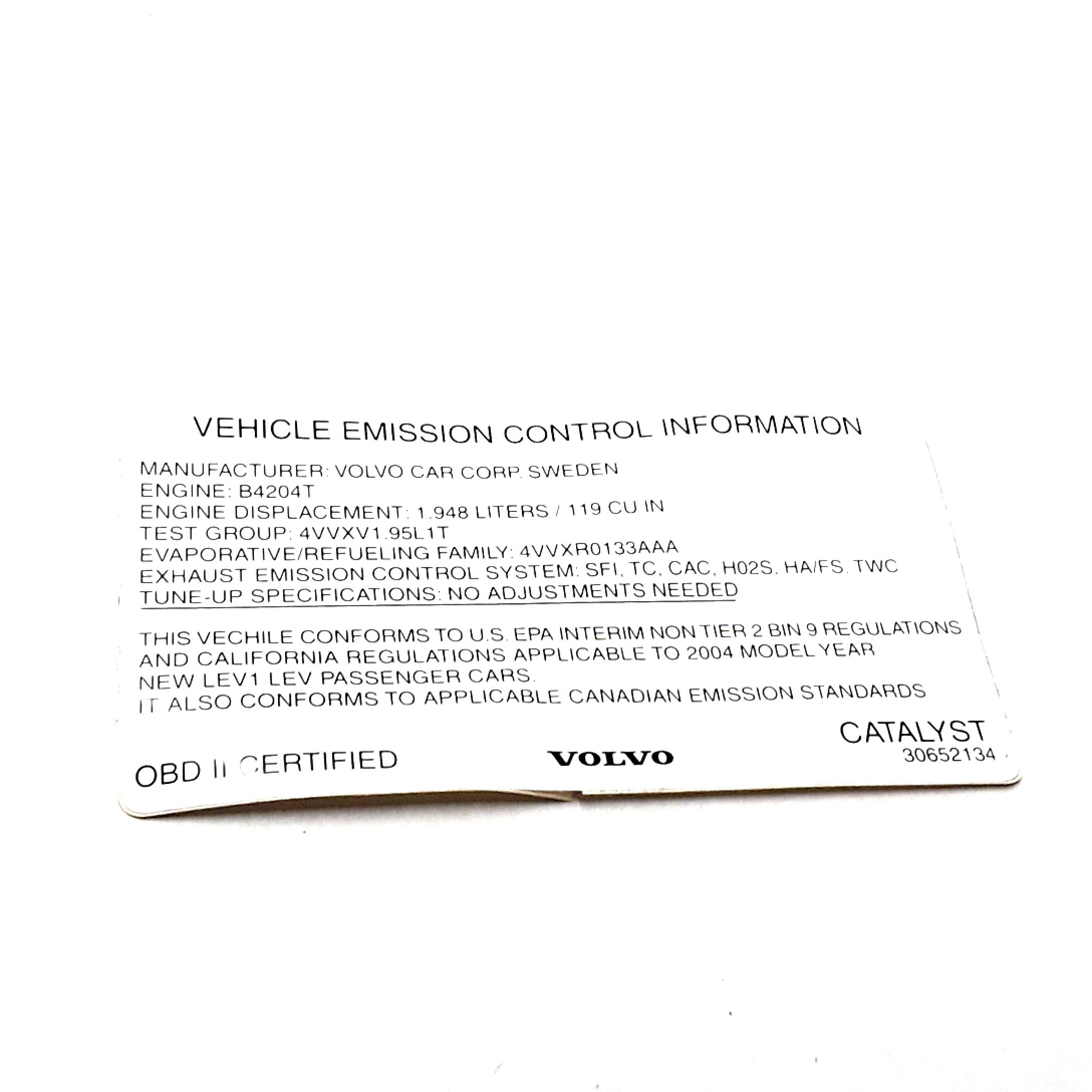 Volvo S40 Decals  Engine Compartment  Exhaust Emission Control   Us  B4204t  2004-